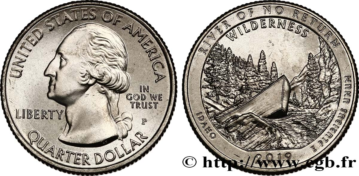 UNITED STATES OF AMERICA 1/4 Dollar Frank Church River - Idaho 2019 Philadelphie MS