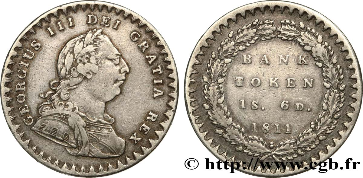 ROYAUME-UNI 18 Pence Georges III Bank token 1811  TTB