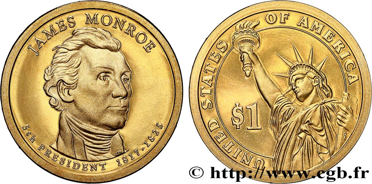 UNITED STATES OF AMERICA 1 Dollar Présidentiel James Monroe - Proof 2008 San Francisco MS