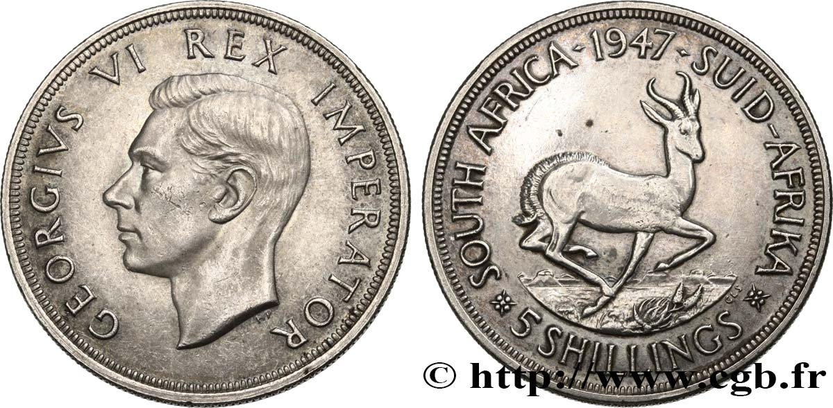 SOUTH AFRICA 5 Shillings Georges VI 1947 Pretoria AU/AU
