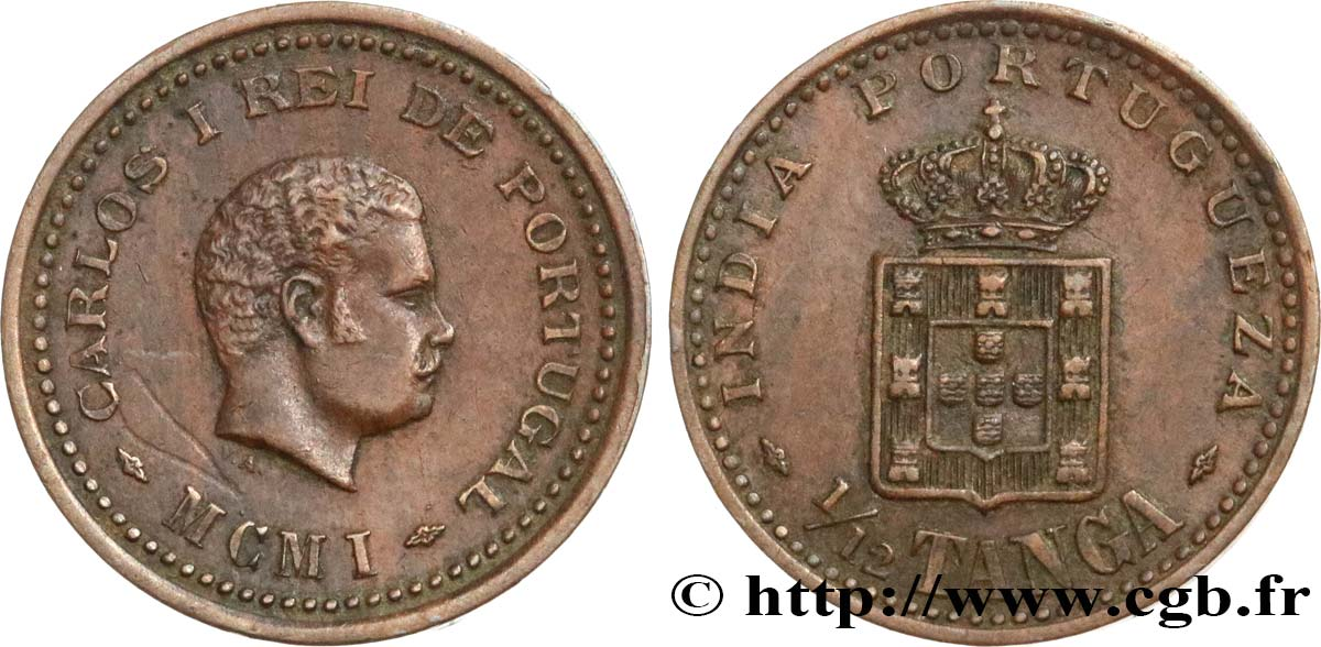 INDE PORTUGAISE 1/12 Tanga Charles Ier (Carlos) 1901  SUP