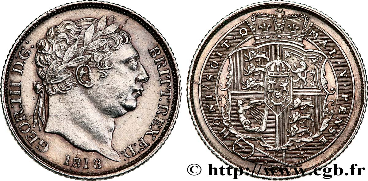 ROYAUME-UNI 6 Pence Georges III 1818 Londres SUP