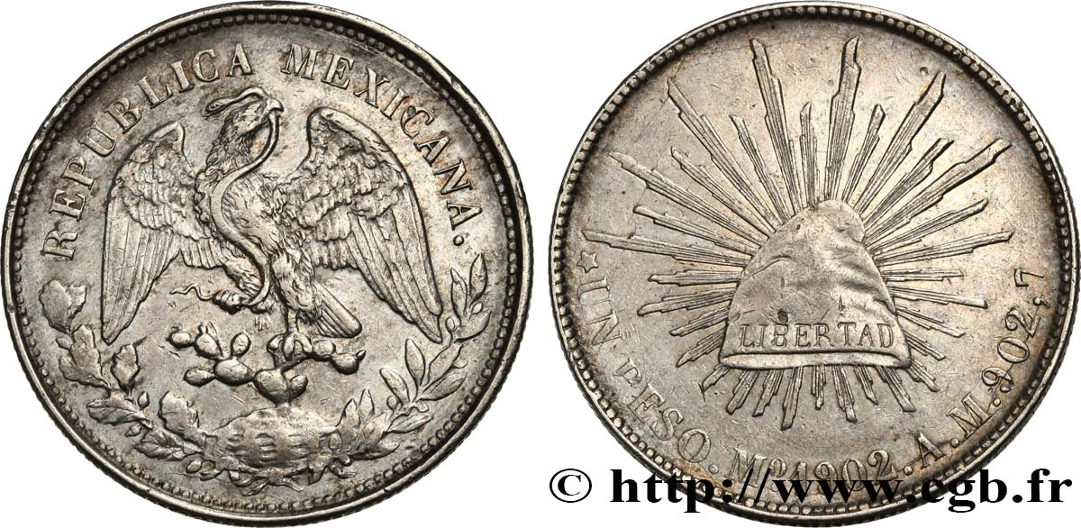 MEXIQUE 1 Peso 1902 Mexico TTB