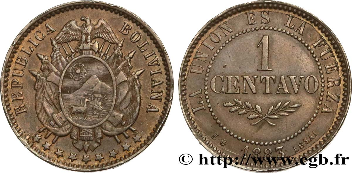 BOLIVIE Essai de 1 Centavo 1883 Paris SUP