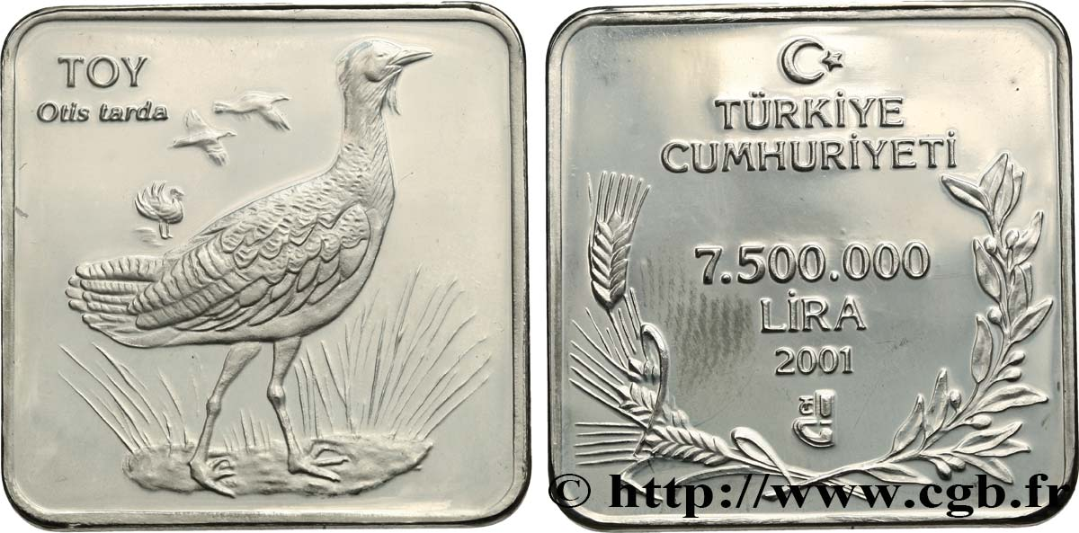 TURQUIE 7.500.000 Lira Proof Grande outarde 2001 Istanbul SPL