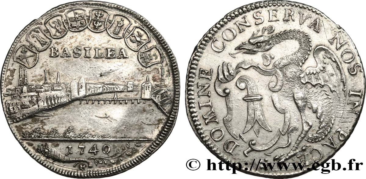 SWITZERLAND - CITY OF BASEL 1/4 Thaler 1741 Bâle AU/AU