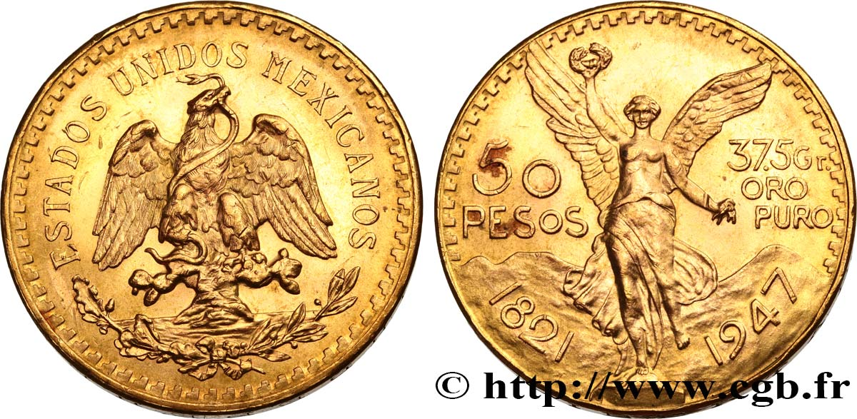MEXIQUE 50 Pesos or 1947 Mexico SPL
