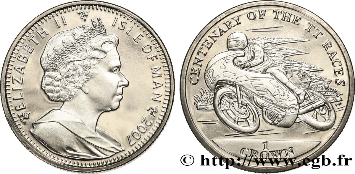 ILE DE MAN 1 Crown Proof Élisabeth II - Centenaire des courses du Tourist Trophy 2007 Pobjoy Mint SPL