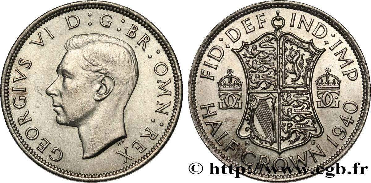 ROYAUME-UNI 1/2 Crown Georges VI 1940  SPL