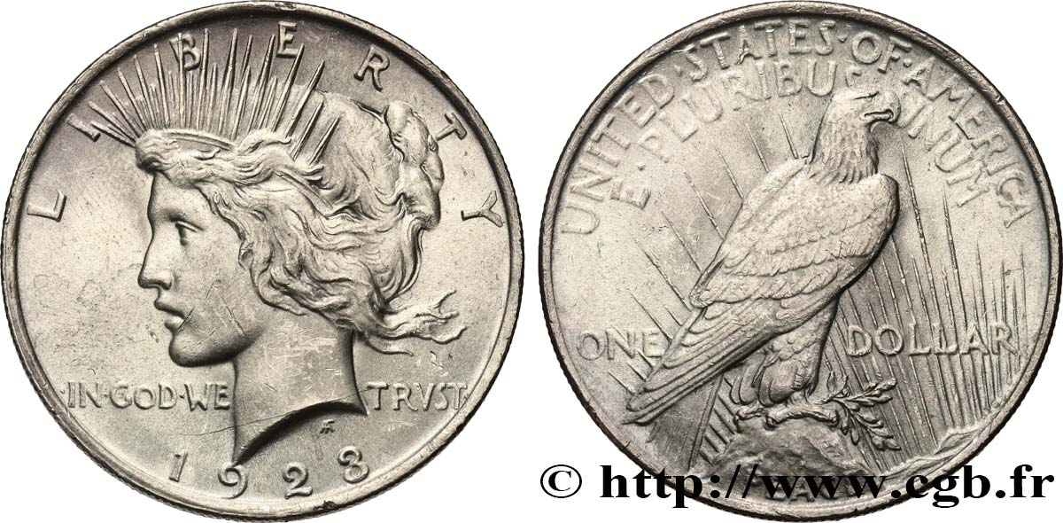 UNITED STATES OF AMERICA 1 Dollar Peace 1923 Philadelphie MS