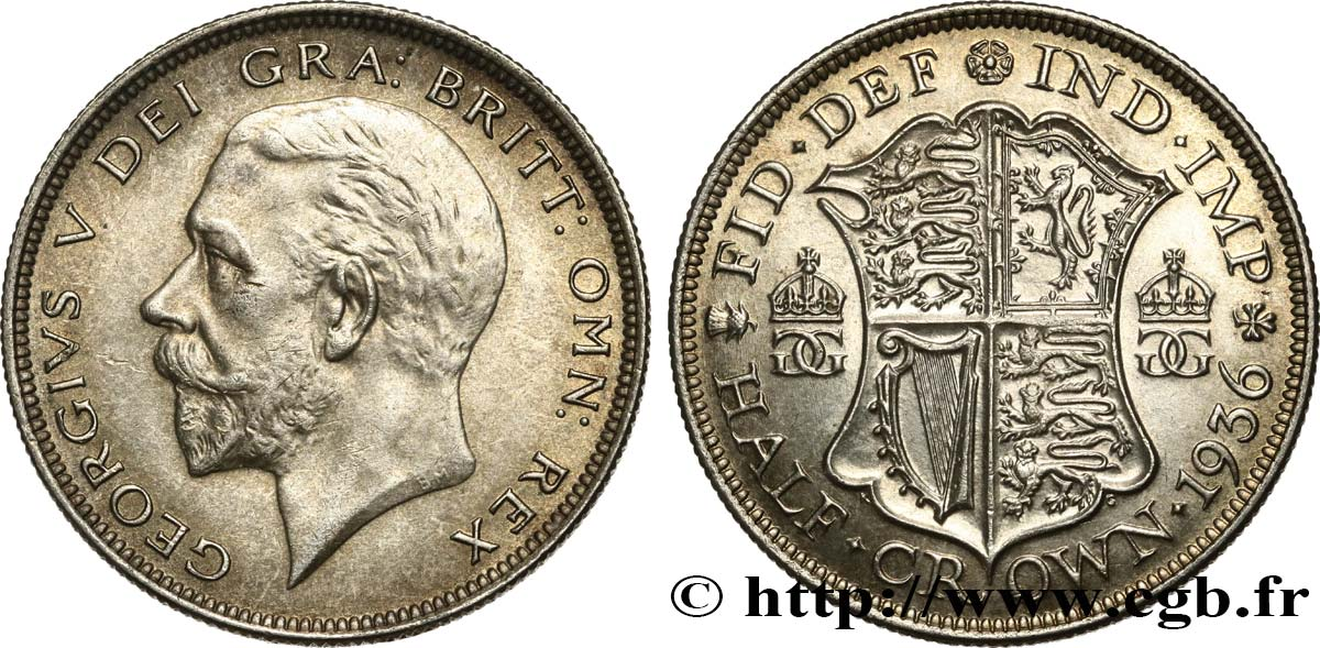 UNITED KINGDOM 1/2 Crown Georges V 1936  AU