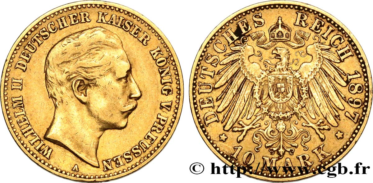 ALLEMAGNE - PRUSSE 10 Mark or, 2e type Guillaume II 1897 Berlin TTB