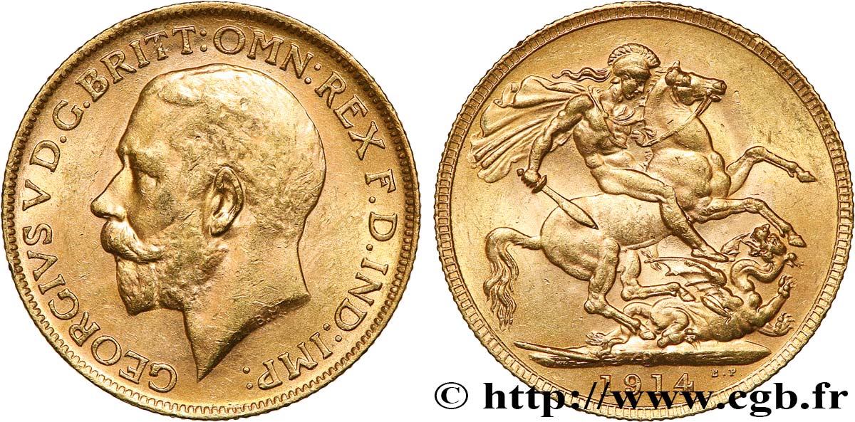 INVESTMENT GOLD 1 Souverain Georges V 1914 Perth AU