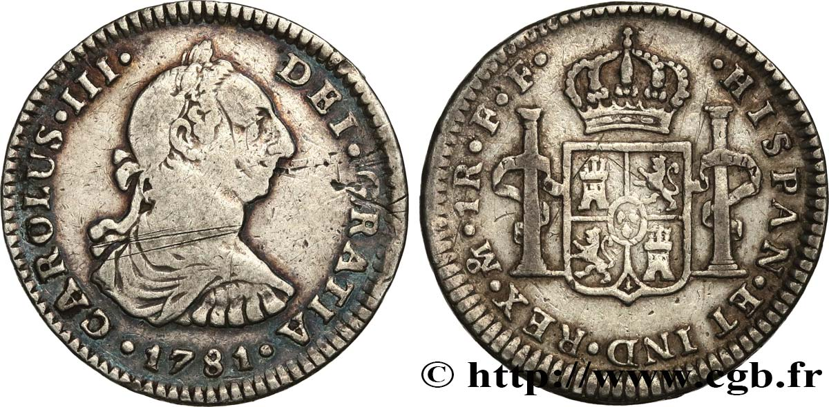MEXIQUE 1 Real Charles III 1781 Mexico TB+