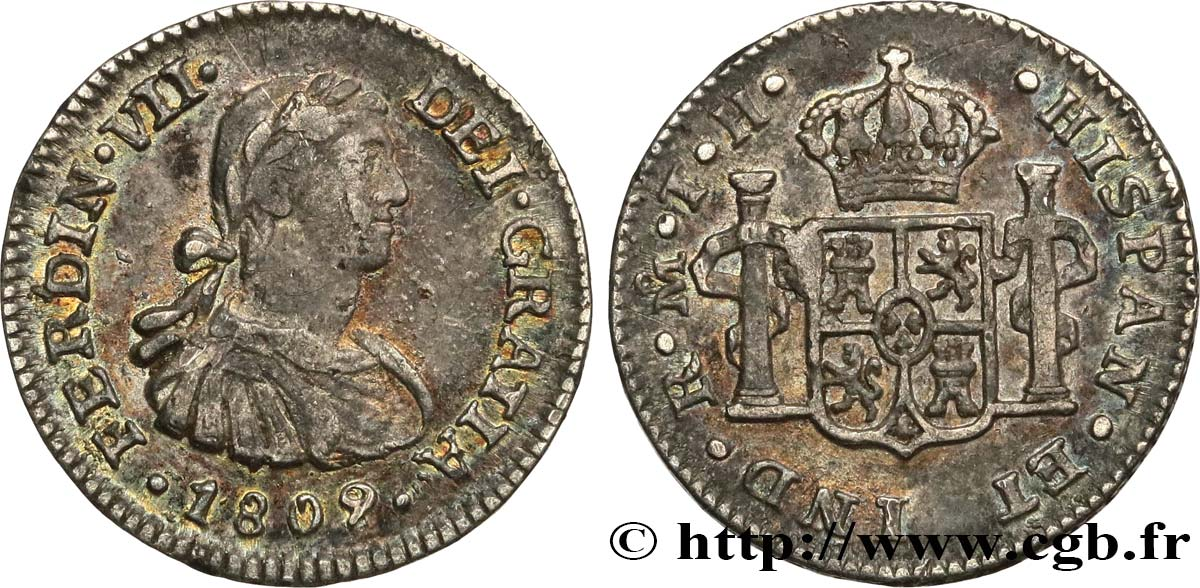 MEXIQUE 1/2 Real Ferdinand VII 1809 Mexico TTB