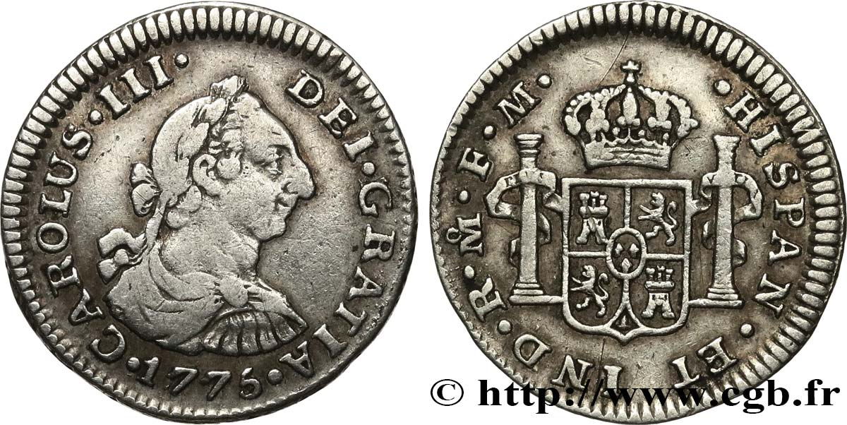 MEXIQUE 1/2 Real Charles III 1775 Mexico TTB