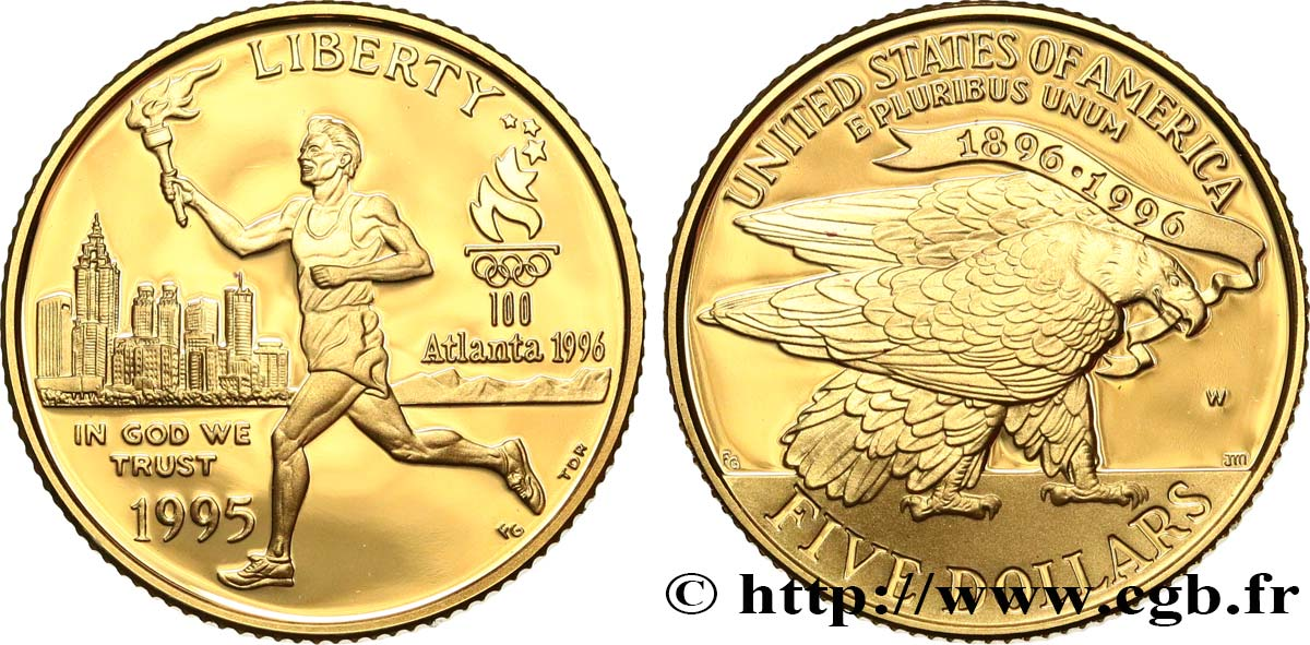 UNITED STATES OF AMERICA 5 Dollars Proof JO d'Atlanta - Porteur de flamme 1995 West Point MS