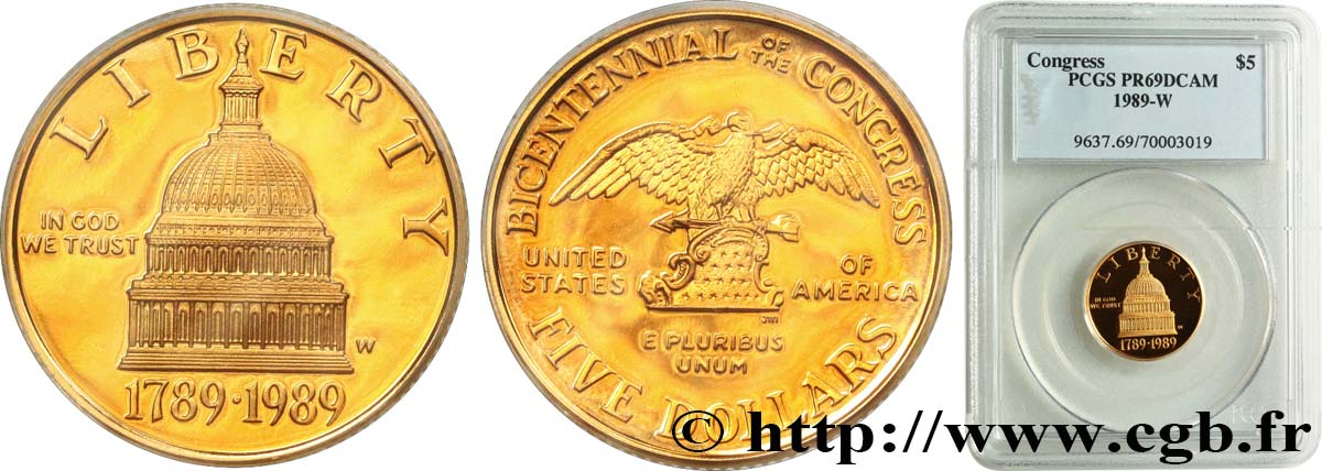UNITED STATES OF AMERICA 5 Dollars Proof bicentennaire du Congrès 1989 West Point MS69 PCGS