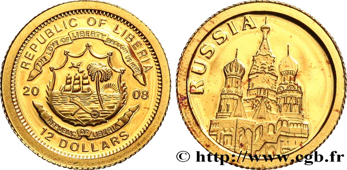 LIBERIA 12 Dollars Proof Russie 2008  SPL