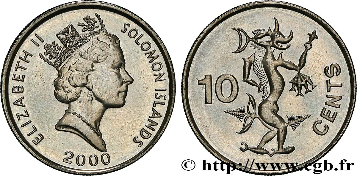 SOLOMON ISLANDS 10 Cents Elisabeth II / Ngorienu l'esprit des mers 2000  MS