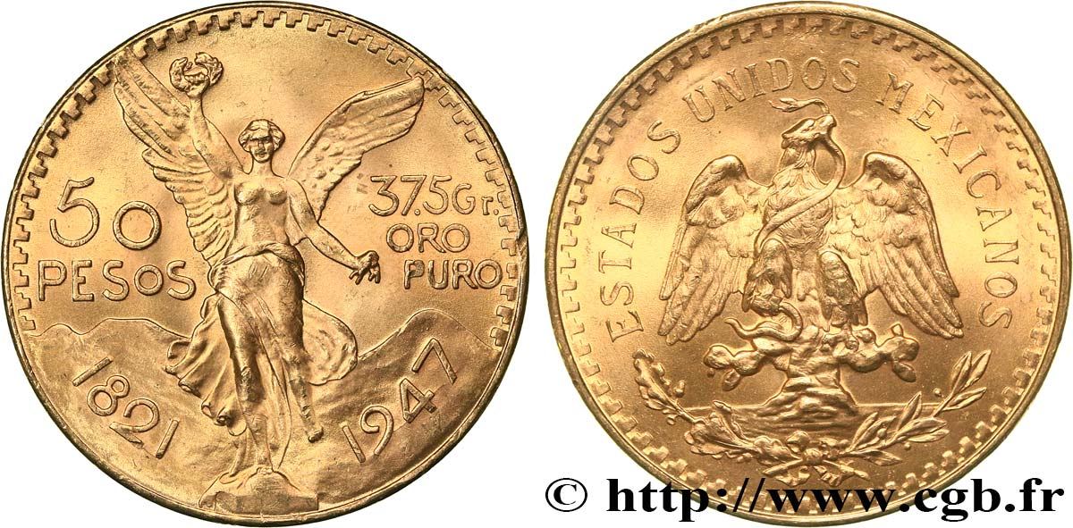 OR D INVESTISSEMENT 50 Pesos or 1947 Mexico SPL