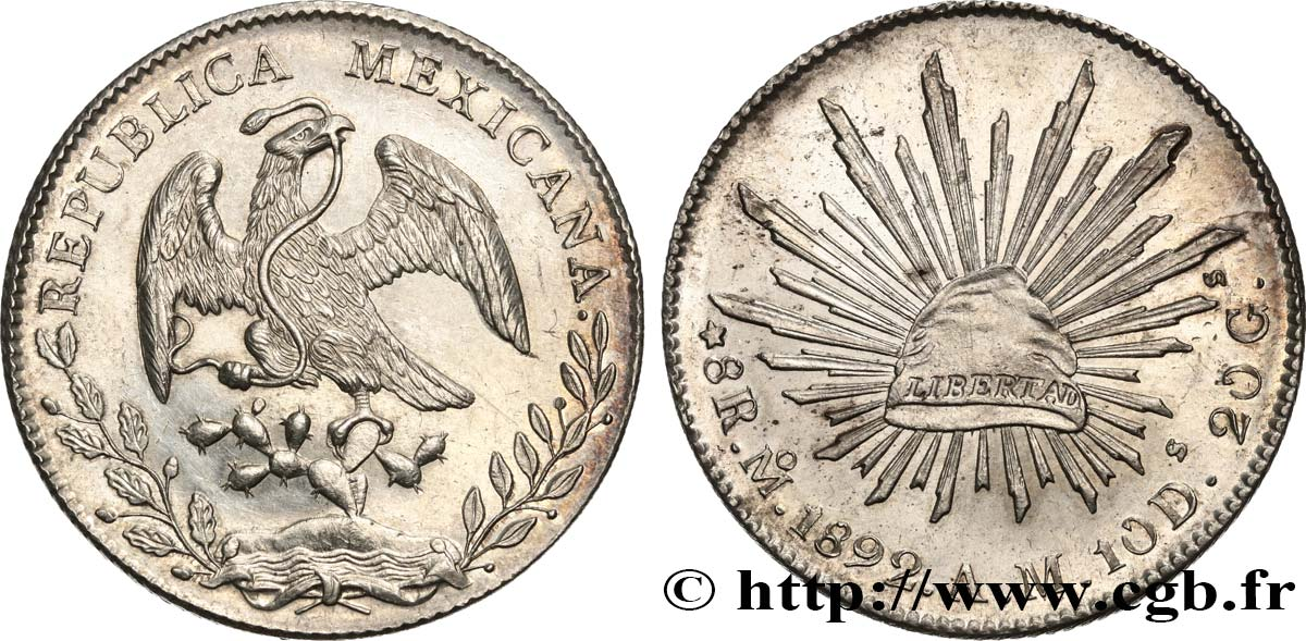 MEXIQUE 8 Reales 1892 Mexico SPL