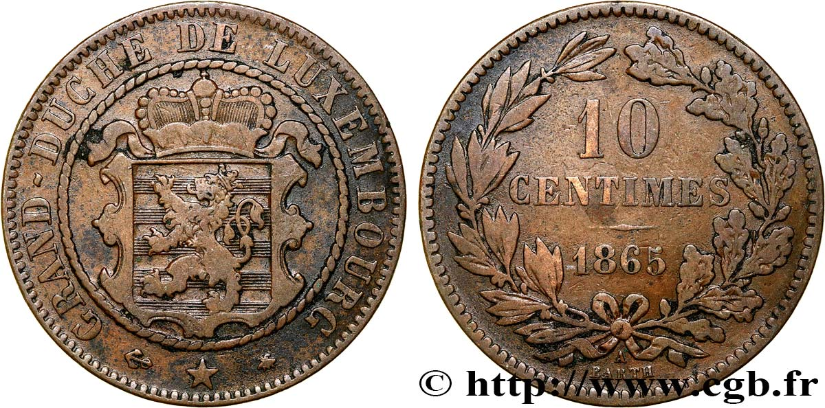LUXEMBOURG 10 Centimes 1865 Paris TB+