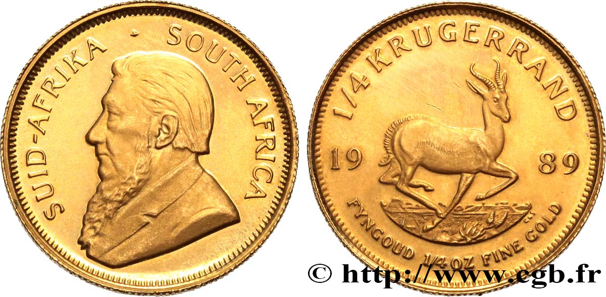 SUDAFRICA 1/4 Krugerrand Proof Paul Kruger 1989 Prétoria MS