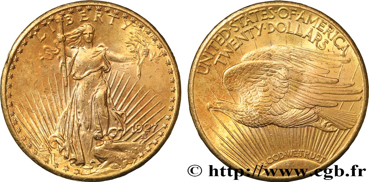 "UNITED STATES OF AMERICA 20 Dollars  Saint-Gaudens"" 1927 Philadelphie AU"