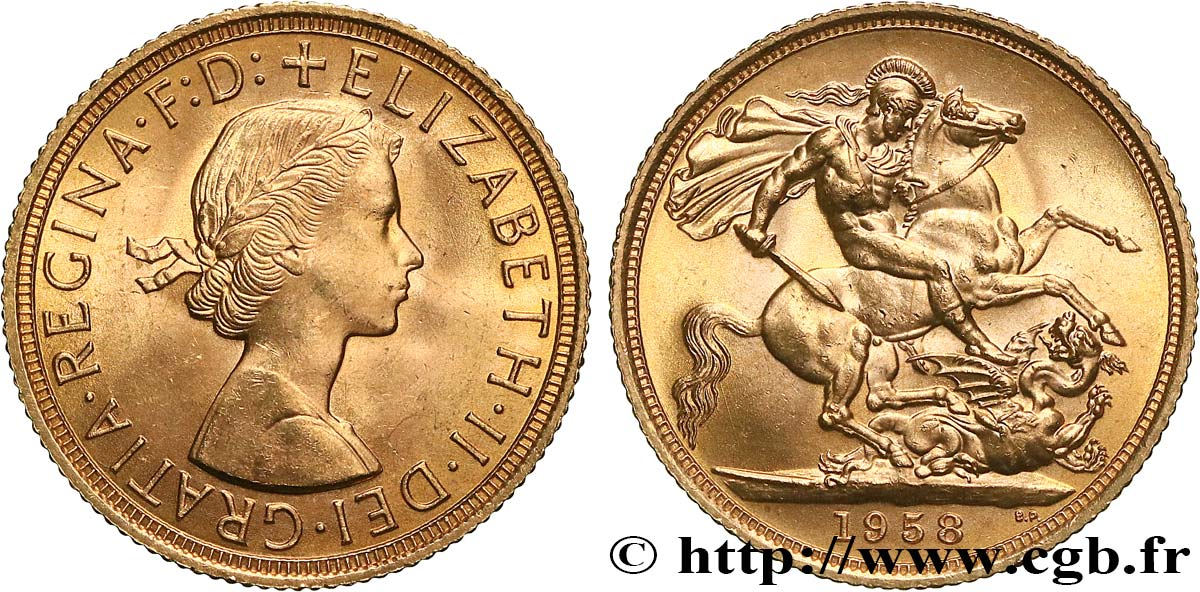 INVESTMENT GOLD 1 Souverain Élisabeth II 1958 Londres MS