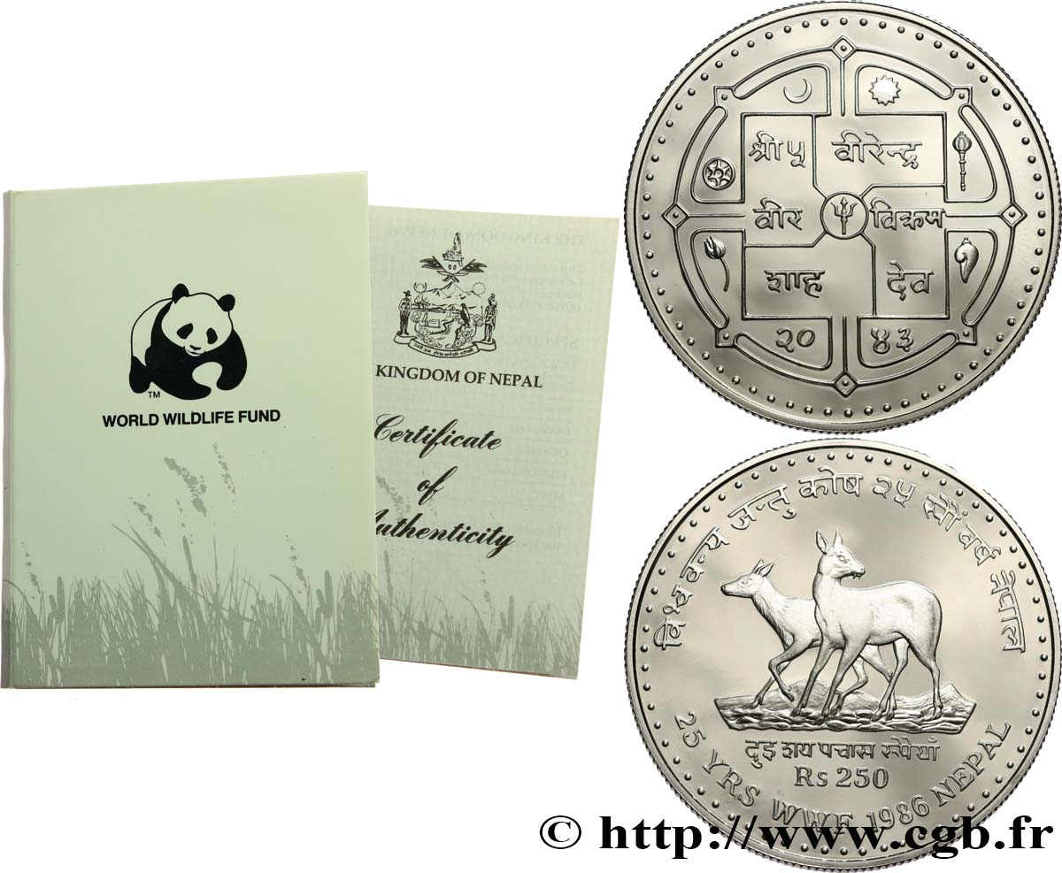 NÉPAL 250 Rupees (Roupies) Proof VS2043 25 ans du WWF 1986  FDC