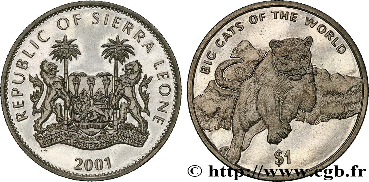 SIERRA LEONE 1 Dollar Proof cougar 2001  MS
