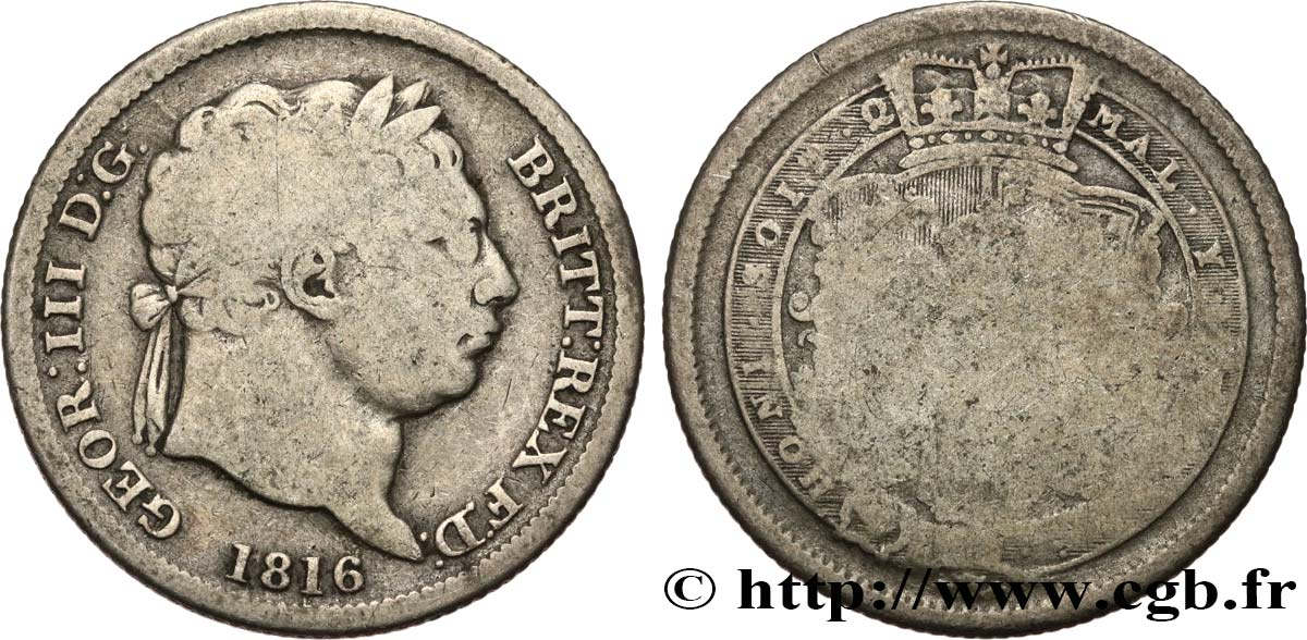 ROYAUME-UNI 1 Shilling Georges III tête laurée 1816  TB