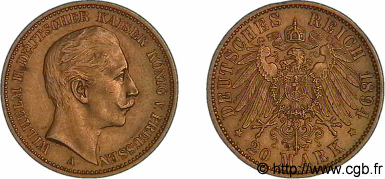 ALLEMAGNE - ROYAUME DE PRUSSE - GUILLAUME II 20 marks or, 2e type 1894 Berlin SUP