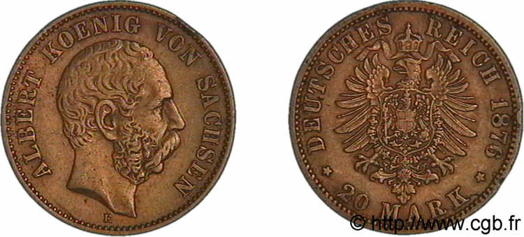 ALLEMAGNE - ROYAUME DE SAXE - ALBERT 20 marks or, 2e type 1876 Dresde TB/TTB