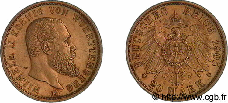 ALLEMAGNE - ROYAUME DE WURTTEMBERG - GUILLAUME II 20 marks or, 1er type 1905 F, Stuttgart SUP