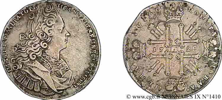 RUSSIE - PIERRE II Rouble, groupe VI 1728 Moscou TTB