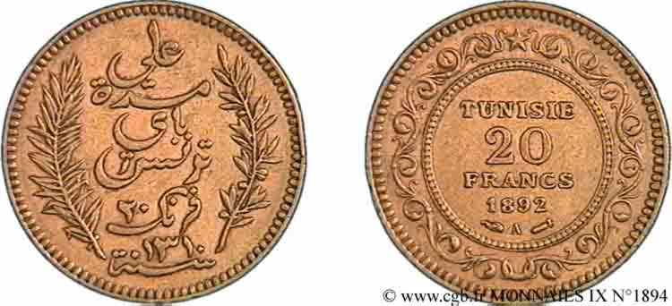 TUNISIE - PROTECTORAT - ALI BEY 20 francs or 1892 Paris TTB  50