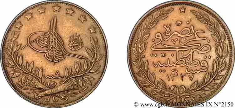 TURQUIE - SULTAN MOHAMMED V RESAT 100 piastres or, 2 type 1915 Constantinople SUP