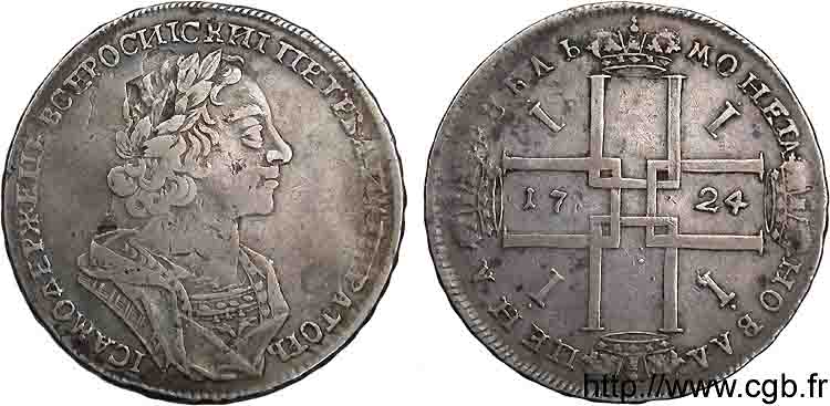 RUSSIE - PIERRE Ier LE GRAND Rouble, groupe II 1724 Moscou TTB