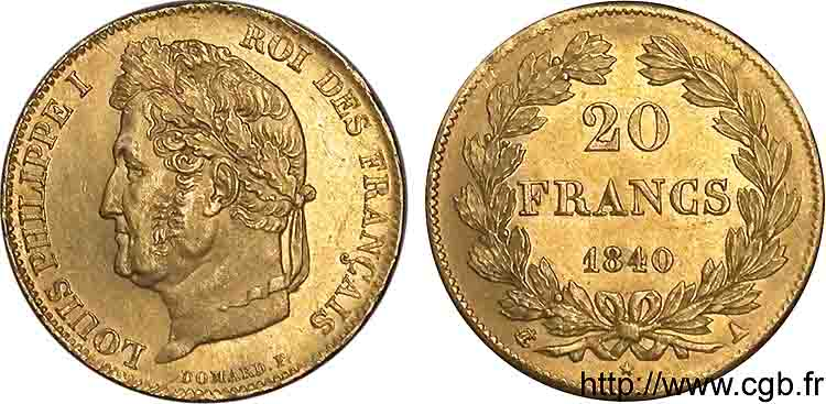 20 francs Louis-Philippe, Domard 1840 Paris F.527/22 SPL