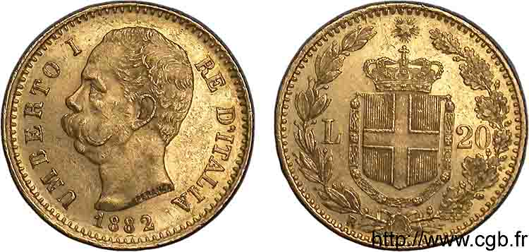 ITALIE - ROYAUME D ITALIE - HUMBERT Ier 20 lires or 1882 Rome SUP  55