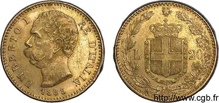 ITALIE - ROYAUME D ITALIE - HUMBERT Ier 20 lires or 1885 Rome SUP  58