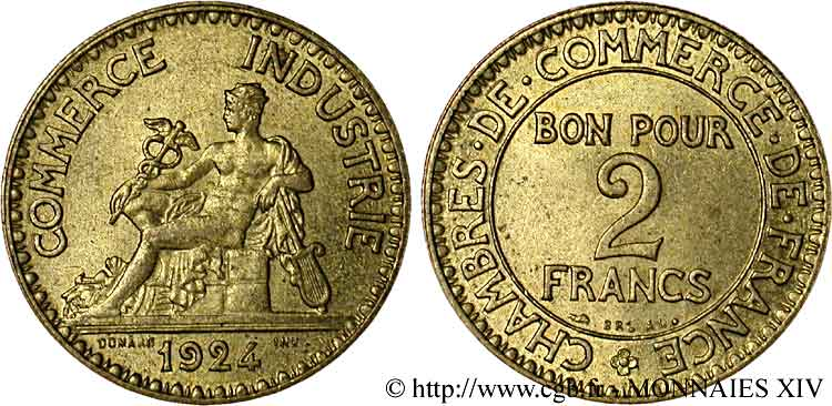 2 francs chambres de commerce 1924 paris v14 1152 for Chambre de commerce de maniwaki