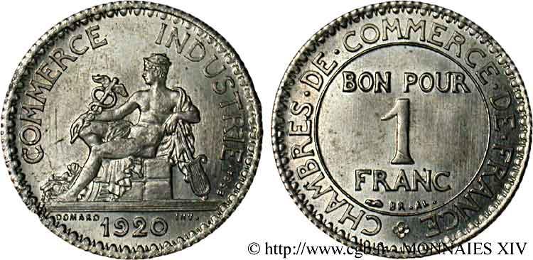 Essai de 1 franc chambres de commerce argent 1920 paris for Chambre de commerce francaise toronto