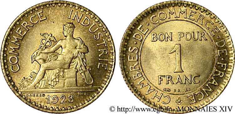 1 franc chambres de commerce 1923 paris v14 1166 for Chambre commerce industrie paris