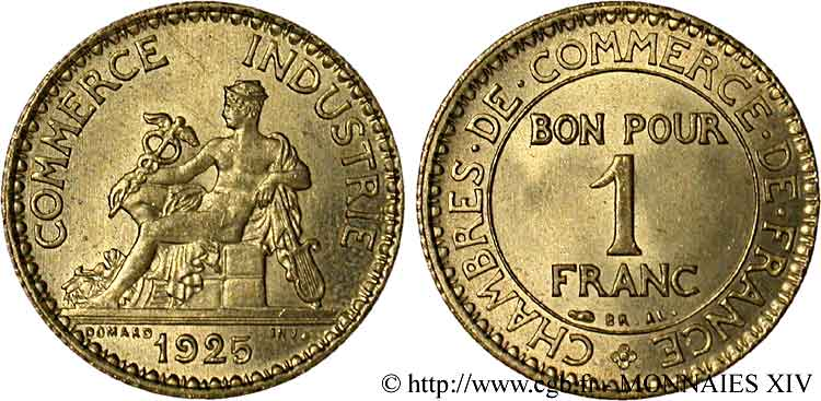 1 franc chambres de commerce 1925 paris v14 1169 for Chambre de commerce algero francaise