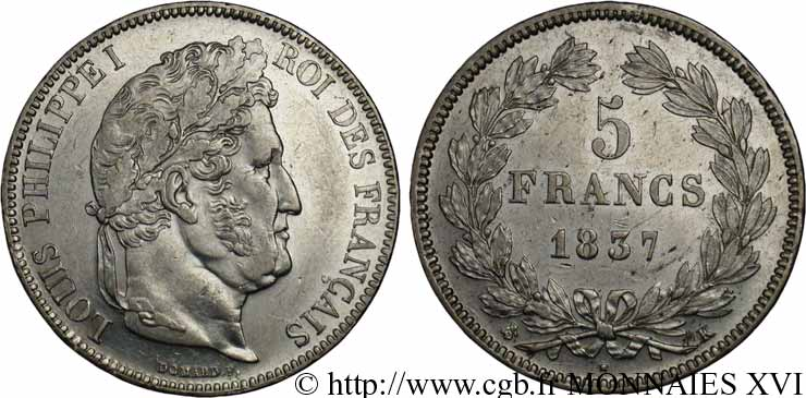 5 francs, IIe type Domard 1837 Bordeaux F.324/65 SUP