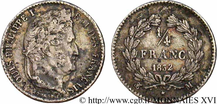 1/4 franc Louis-Philippe 1832 Toulouse F.166/24 TB