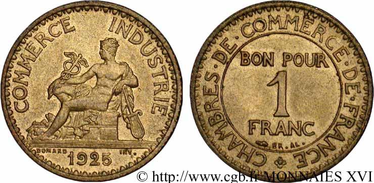 1 franc chambres de commerce 1925 paris v16 1837 for Chambre commerce industrie paris